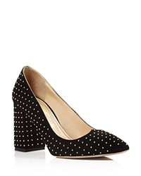 Jerome C. Rousseau Cannelle Studded Block Heel Pumps Black