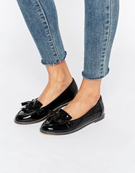 London Rebel Fringe Loafers Black Patent