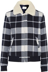 Sandro Vanja Shearling Trimmed Plaid Wool Blend Coat Blue