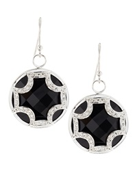 Elizabeth Showers Black Onyx Sapphire Maltese Cross Earrings