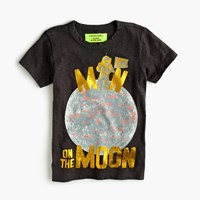 J.Crew Boys' Glow In The Dark Man On The Moon T Shirt Coal Grey