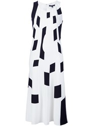Derek Lam Geometric Print Shift Dress White