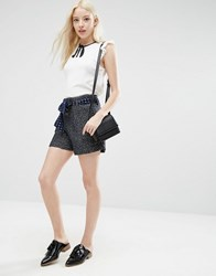 Sister Jane Mojo Tweed Shorts With Belt Navy
