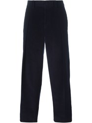 E. Tautz Pleated Corduroy Trousers Blue