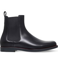 Valentino Red Edge Leather Chelsea Boots Blk Red