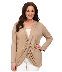 Kiyonna Twisted Pullover Bellini Vintage Taupe Women's Clothing