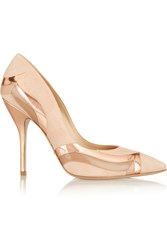 Paul Andrew Phoenix Paneled Suede Leather And Patent Leather Pumps Pink