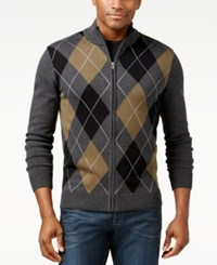 Inc International Concepts Argyle Mock Neck Cardigan Sweater Only At Macy's Charcoal H