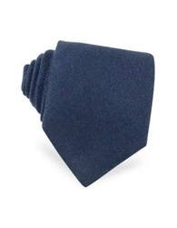 Forzieri Solid Blue Cashmere Extra Long Tie Dark Blue
