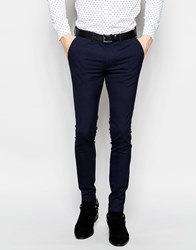 Asos Super Skinny Tuxedo Suit Trousers In Navy Navy