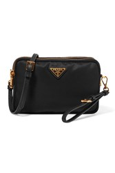 Prada Leather Trimmed Shell Cosmetics Case Black