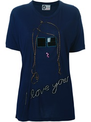 Lanvin Sequin Embroidery T Shirt Blue