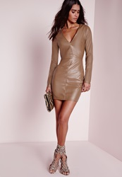 Missguided Faux Leather Plunge Bodycon Dress Taupe Grey