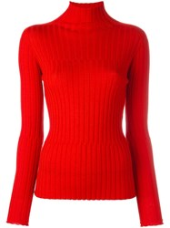 Blumarine Turtleneck Ribbed Knit Jumper Red
