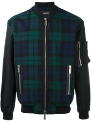 Dsquared2 Tartan Pattern Bomber Jacket Blue