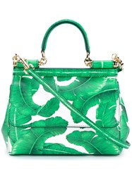 Dolce And Gabbana Leather Leaf Print Satchel Green