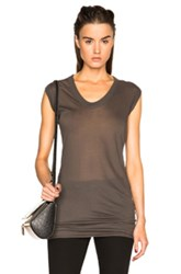 Rick Owens Unstable Cotton V Neck Sleeveless Tee In Gray