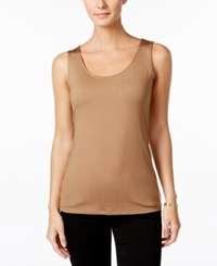 Charter Club Sleeveless Solid Layering Tank Only At Macy's Salty Nut
