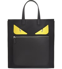 Fendi Monster Nylon And Leather Tote Black Red