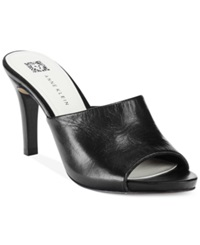 Anne Klein Objective Dress Mules Black Leather