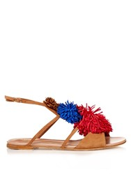 Malone Souliers Sherry Fringed Pompom Suede Flat Sandals Tan Multi