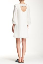Daniel Rainn 3 4 Length Sleeve Lace Boho Shift Dress White