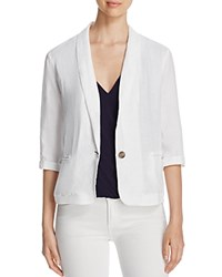 Three Dots Lore Shawl Collar Linen Blazer White