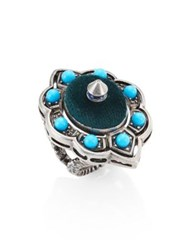 Gucci Studded Enamel And Velvet Cocktail Ring Silver Turquoise