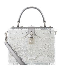 Dolce And Gabbana Embellished Mirrored Top Handle Bag Female Silver