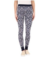 Splendid Ikat Print Thermal Leggings Navy Multi Women's Casual Pants Blue