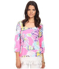 Lilly Pulitzer Alia Top Kir Royal Pink Swept By The Tides Women's Clothing