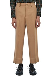 Gucci Straight Leg Wool Flannel Pants Beige