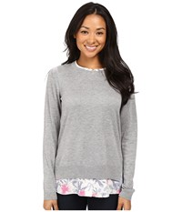 Nydj Key Item Mixed Media Sweater Eliza Floral Pink Thisle Women's Sweater Gray