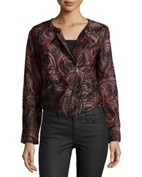 Haute Hippie Long Sleeve Floral Leather Jacket Burgundy Red