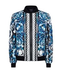 Versace Quilted Watercolour Silk Bomber Jacket Blue