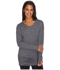 Lucy Manifest Long Sleeve Tunic Black Micro Stripe Women's Long Sleeve Pullover