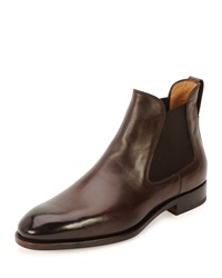Salvatore Ferragamo Marrico Leather Chelsea Boot Chocolate