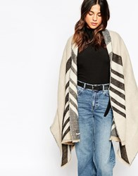 Pieces Reversible Oversized Blanket Scarf Grey