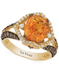 Le Vian Chocolatier Citrine 2 2 3 Ct. T.W. And Diamond 3 4 Ct. T.W. Ring In 14K Gold