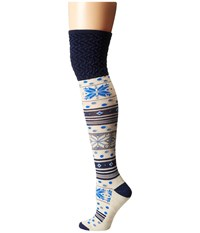 Smartwool Fiesta Flurry Ink Heather Women's Knee High Socks Shoes Navy
