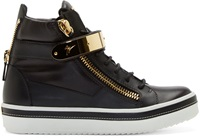Giuseppe Zanotti Gold And Black Ace Sneakers