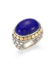 John Hardy Batu Dot Lapis Lazuli 18K Yellow Gold And Sterling Silver Dome Ring