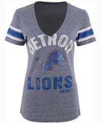 G3 Sports Women's Detroit Lions Any Sunday Rhinestone T Shirt Gray