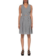 Moandco. Gingham Print Cotton Blend Dress Blue And White Check