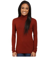 Pendleton Petite Timeless Turtleneck Rosewood Heather Women's Long Sleeve Pullover Red