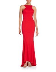 Xscape Evenings Ruffled Open Back Gown Red