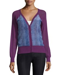See By Chloe Lizard Print V Neck Cardigan Purple Blue