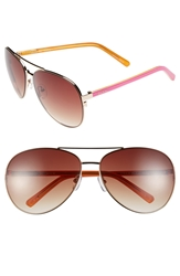 Lilly Pulitzer 'Finley' 65Mm Aviator Sunglasses Gold Pink White Orange