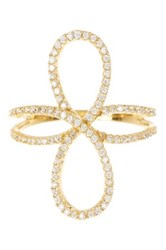 18K Yellow Gold Plated Sterling Silver Cz Infinity Ring
