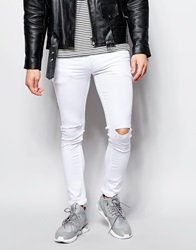 Religion Vice Super Skinny Stretch White Jeans With Rip Knee